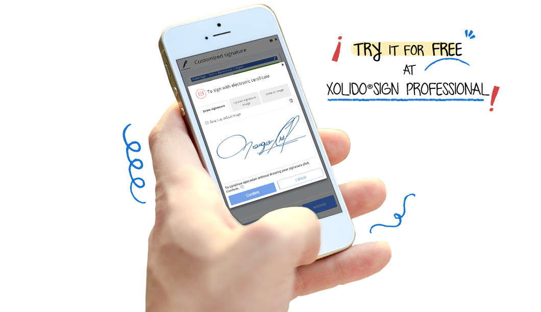 Signature with electronic certificate + Biometric signature. Merge both signatures into a single signature process and achieve a greater legal scope. Try it for free at XolidoSign Professional!