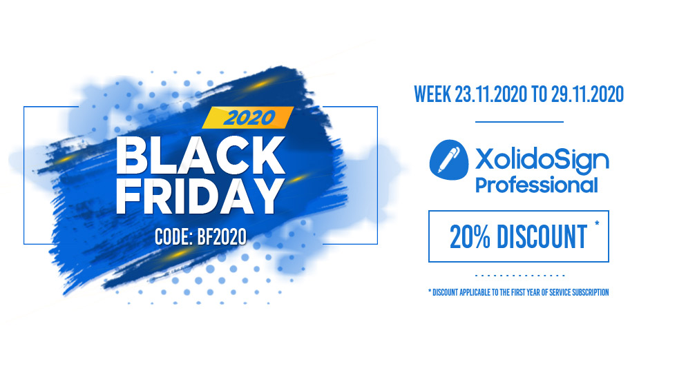 Black Friday 2020 - 20%  XolidoSign Professional Discount - Week from 23.11.2020 to 29.11.2020 - CODE BF2020