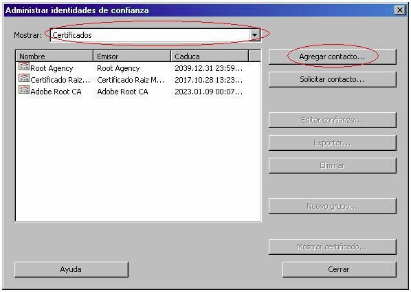 Fig. 2. Trusted entities admin menu